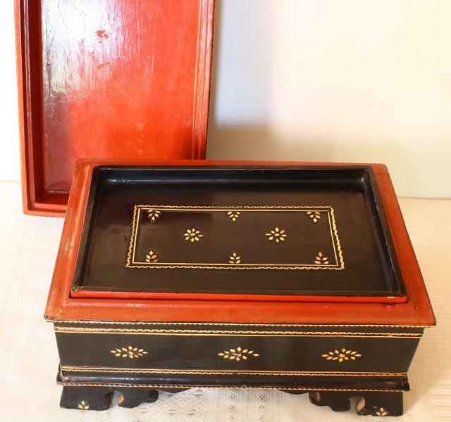antique Burmese lacquerware BLW31M3