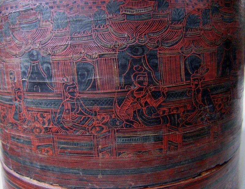 Antique Burmese Lacquerware EUO23M3