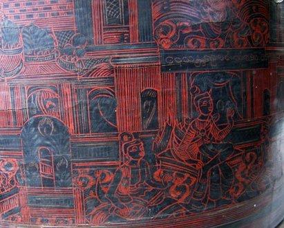 Antique Burmese Lacquerware EUO23M5