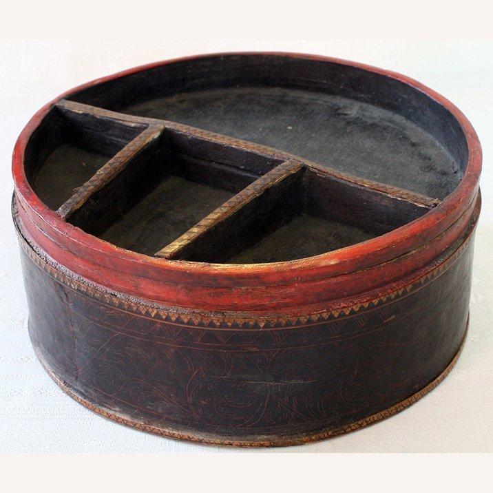 antique Cambodian Lacquerware container