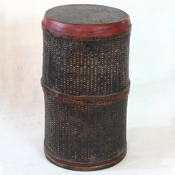 antique Khmer lacquer scroll container