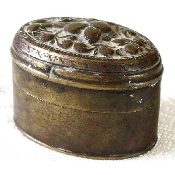 antique decorated brass box