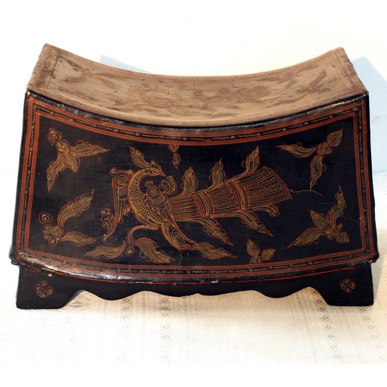 Antique decorated Burmese lacquerware box