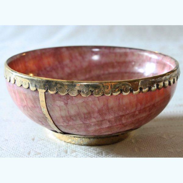 antique rose quartz bowl