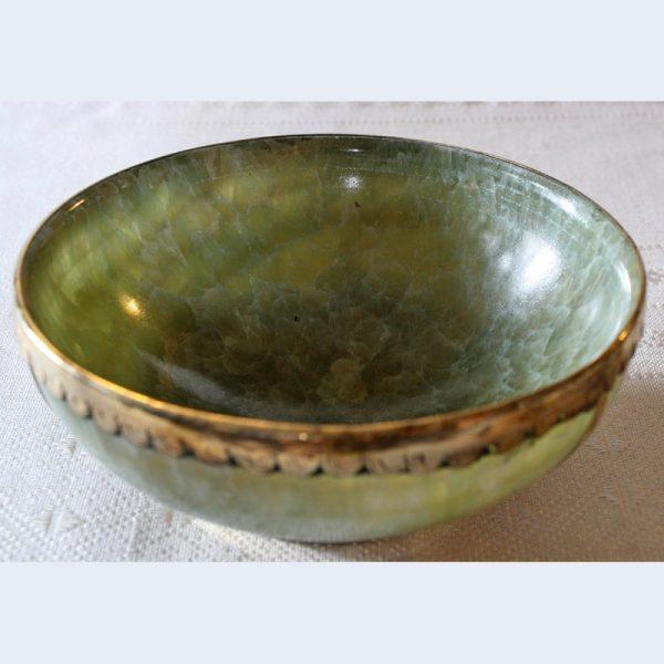 antique green quartz bowl