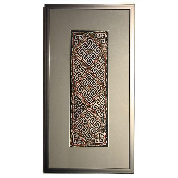 Framed vintage Hmong emboidered silk textile from Sapa Vietnam