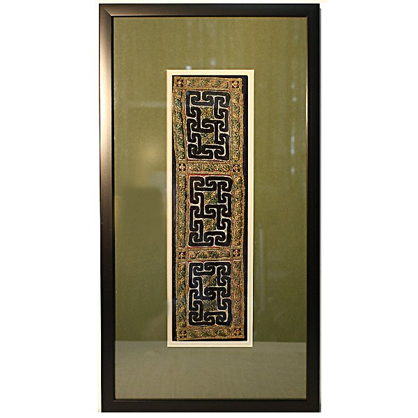 Framed vintage Hmong embroidered silk textile from Sapa Vietnam