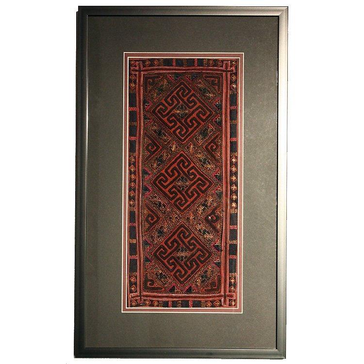 framed vintage Hmong silk textile