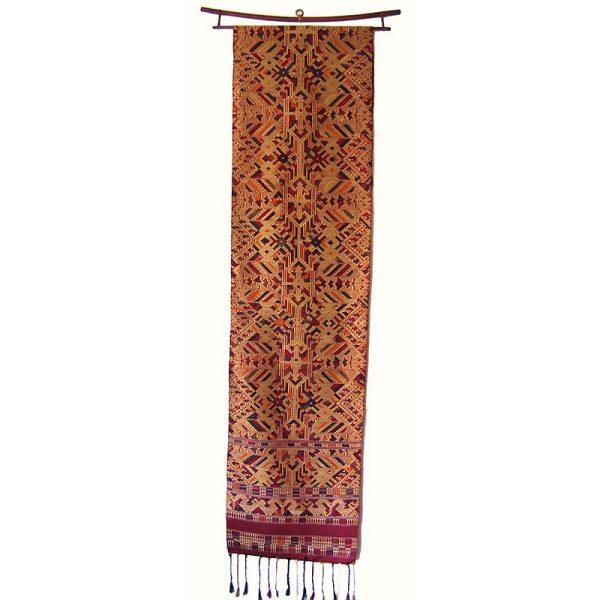 silk art wall hanging Laos weaving