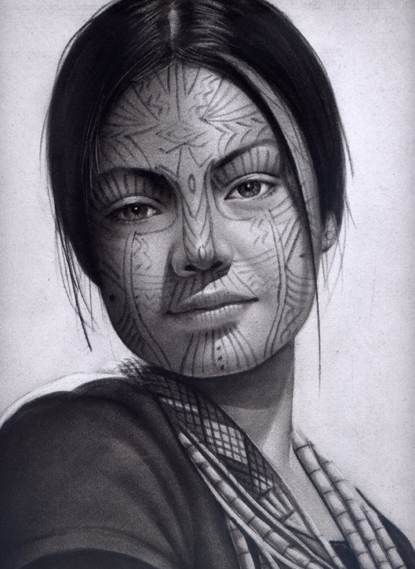 Charcoal drawing of Chin women with facial tatoos