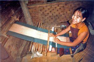 Chin woman of Burma Weaving tribal textiles