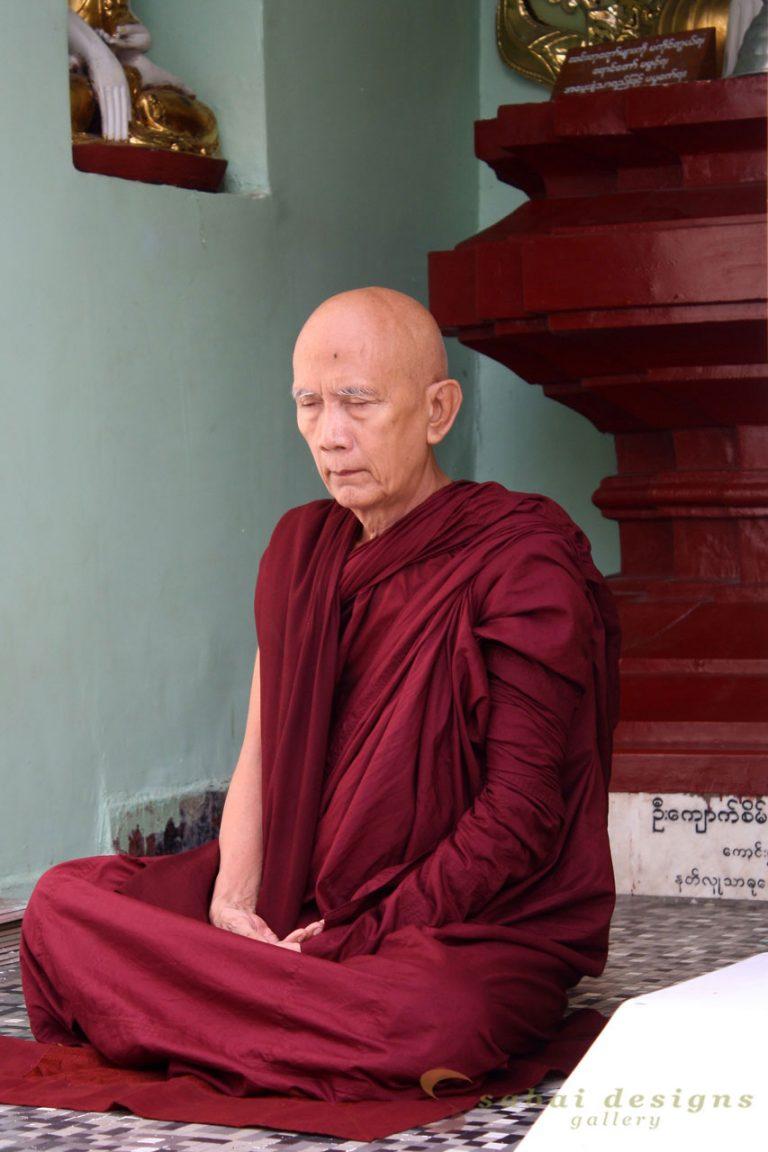 Monk Meditating Shwedagon