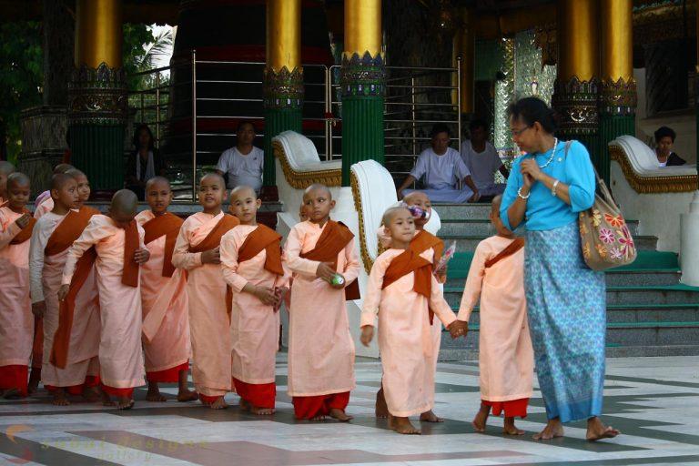 Young nuns Shwedagon Burma