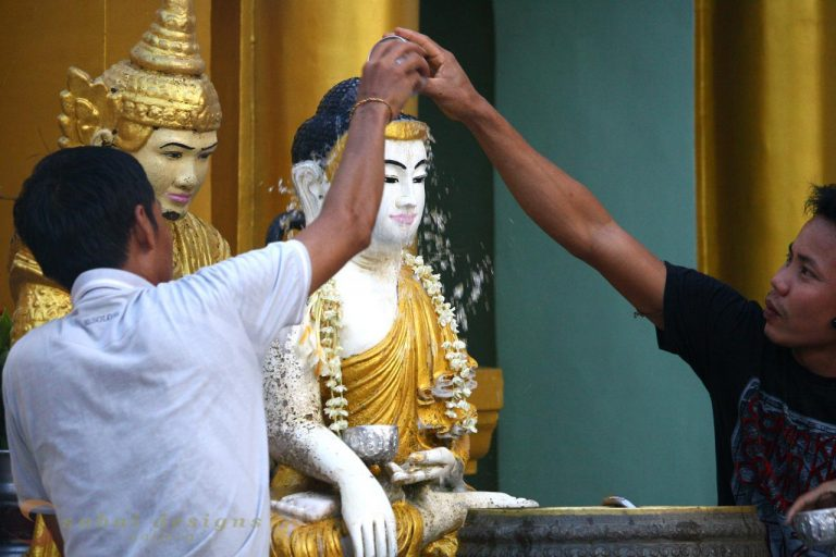 Blessing the Buddha at Shwedagon