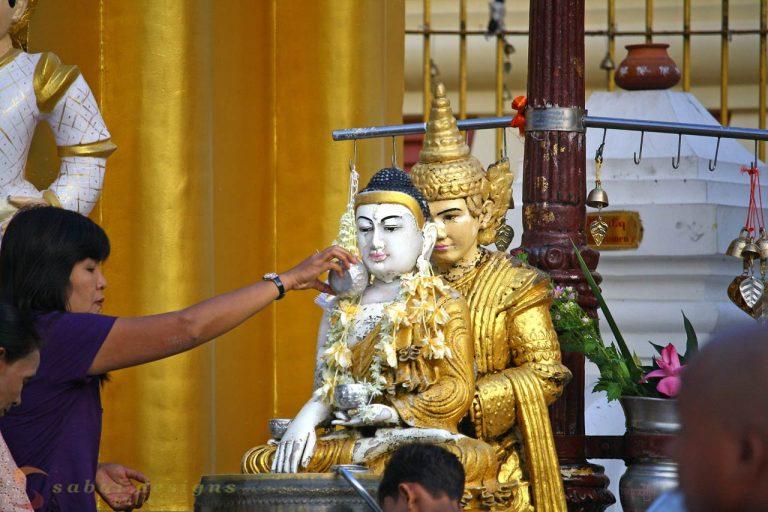 Water blessing Buddha Burma