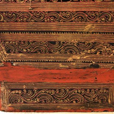Antiqe Burmese lacquerware motif