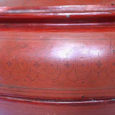 Antique Burmese lacquerware motif