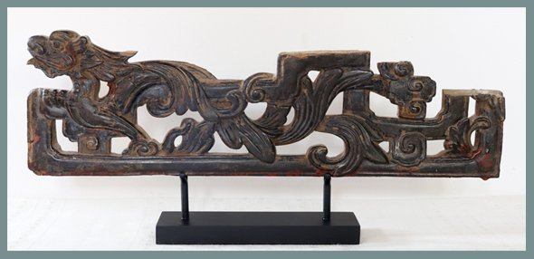 Vietnamese Antique Dragon Wood Carving