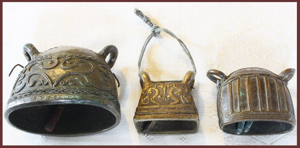 Asian antiques: bronze bells Burma