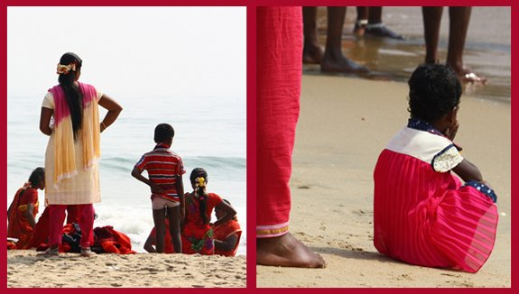 Life on the beach in front of Shore Temple, Mahabalipuram, India