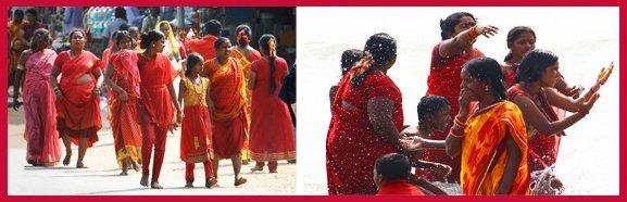 Pilgrims from Kerala visiting the ancient temples of Mahabalipuram.