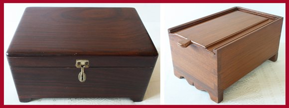Rosewood jewelry box and teak spice box from from Chettinad, Tamil Nadu, India.