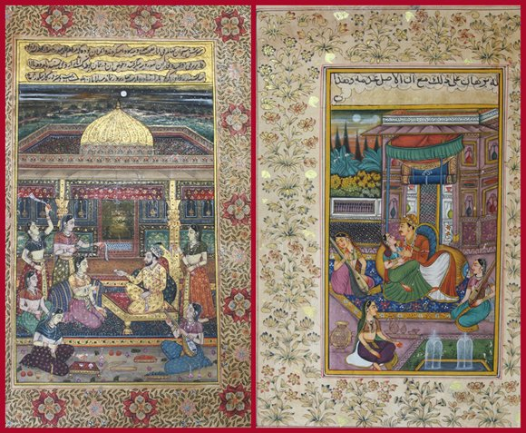 Original Mughal paintings of the emperor with consorts painted in watercolors on antique paper with 24K gilding.