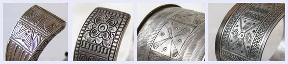 Traditional Hmong Designs on Silver Antique Bracelets