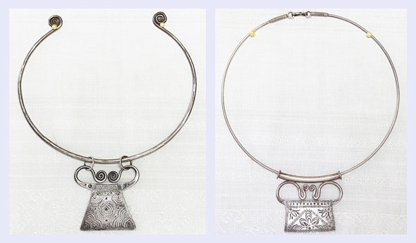 Antique Hmong Silver Neck Rings with Soul Lock Pendants