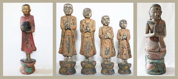 Burmese Buddhist Wood Carvings of Monks